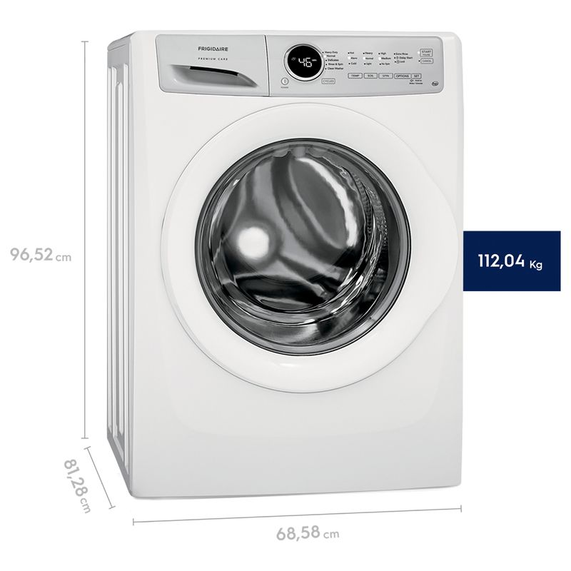 Washer_21Kg_EFLW317TIW_Perspective_Dimensions_Frigidaire_English